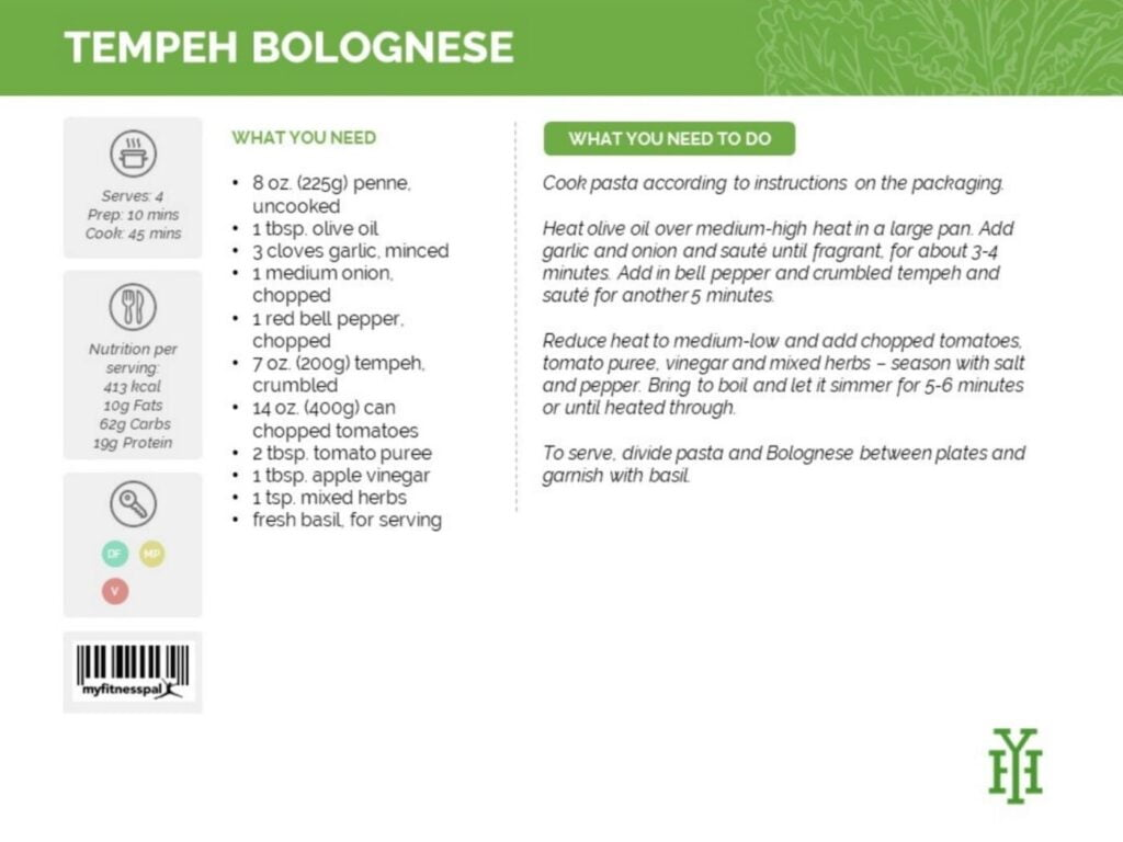 Tempeh Bolognese Recipe e1618219279988 Delicious meal plan from Yvonne